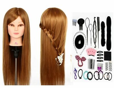 """26"""" Training Head 100% Real Hair Practice Hairdressing Mannequin Doll with Clamp"""
