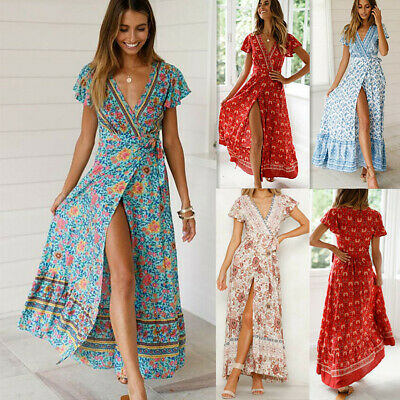 Sexy Women's Boho V-Neck Floral Summer Party Evening Beach Long Dress Sundress