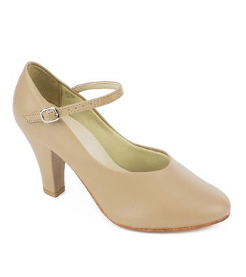 "Tan So Danca 3"" heel character/stage dance shoes (CH53) - UK 2.5"