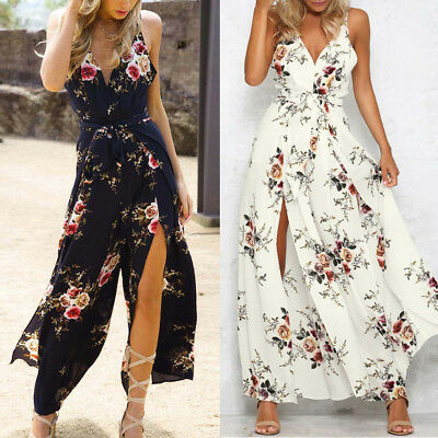 Sexy Womens Chiffon Backless Sleeveless Floral Jumpsuit Summer Playsuit Rompers