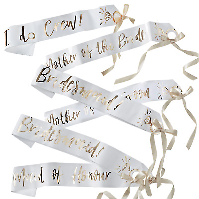 Team Bride To Be Party Sashes I Do Crew White Gold Hen Party Night Accessories