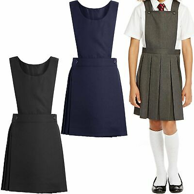 Girls Kids School Pleated Plain Bib Pinafore Dress Uniform Age 2-16 Black Grey