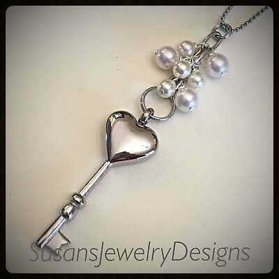 Key urn necklace stainless steel memorial necklace pearl cremation jewelry ash