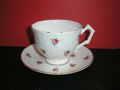 Vintage Fine Bone China Rose Tea Cup & Saucer.  Made in England.