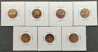 Canada 1974 - 1980 Set of 7 Different 1 Cents Specimen Coins Collection Lot
