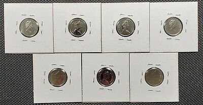 Canada 1974 - 1980 Set of 7 Different 25 Cents Specimen Coins Collection Lot