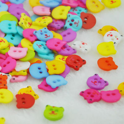100pcs mix Lovely Bear Plastic Buttons Scrapbooking Sewing Craft Appliques PT125