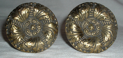 """2 SOLID BRASS AntQ Victorian Art Nouveau CURTAIN STAYS TIE BACKS 3 3/8"""" *GERMANY"""