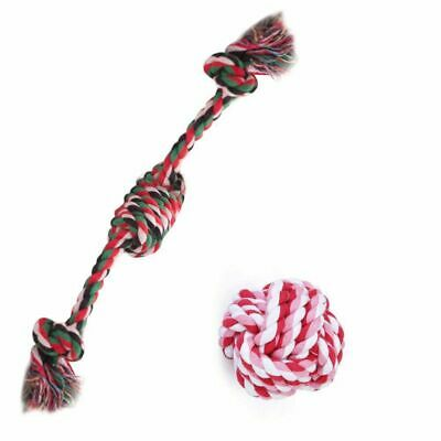 Small Dog/Cat Natural Cotton Knot and Ball Rope Chew Toys for Teeth Cleaning ZC