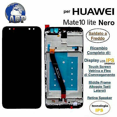 Display LCD Touch Screen Middle Frame HUAWEI MATE 10 LITE RNE-L21 Originale Nero