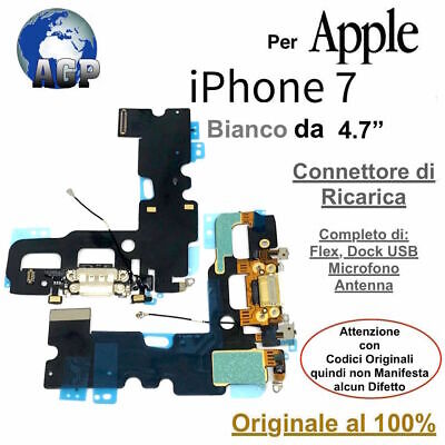 Connettore Ricarica Dock Flex Microfono Antenna Apple iPhone 7 Bianco Originale