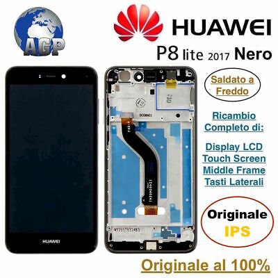 Display LCD Touch Screen Middle Frame HUAWEI P8 LITE 2017 PRA-LX3 Nero Originale