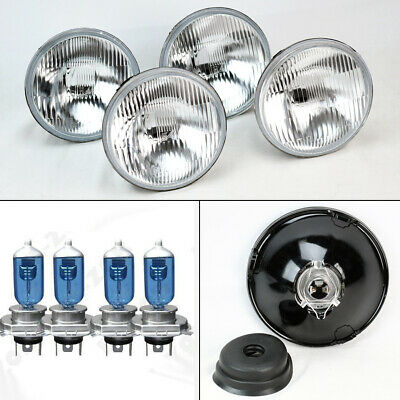 """FOUR 5.75"""" 5 3/4 OE Style Round H4 Glass Headlight Conversion w/ Bulbs Set Ford"""