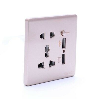 Wall Electrical 10A Universal Plug Faceplate Socket Double 2 USB Outlets Port HV