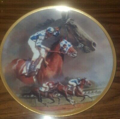 """American Artists Collectible Plate """"Alysheba"""" by Fred Stone 10 1/4'' COA Box"""