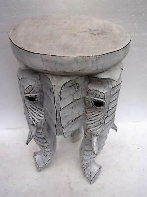 Unusual Carved Elephant Table Shabby Chic White Wash Solid wood Elephant Stool