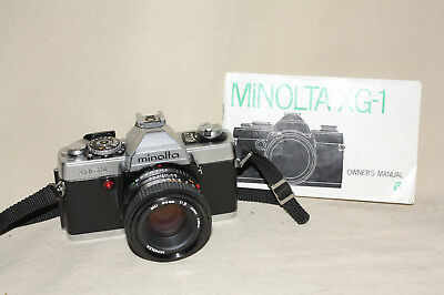 MINOLTA XG-1 35mm FILM CAMERA WITH 50/2 LENS NECK STRAP INSTRUCTIONS 7928