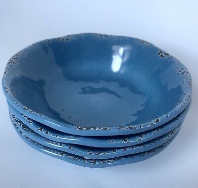 "Tommy Bahama Blue Crackle Rustic Melamine 7"" Cereal Salad Bowls Set Of (4) New"