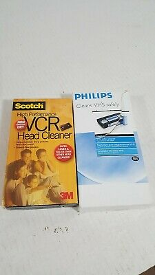 SCOTCH 3M VCR HEAD CLEANER PLUS CLEANS ENTIRE TAPE PATH , dry + PHILIPS PH61102