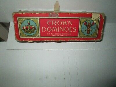 CROWN DOMINOES Embossing Company rare Antique 1950s Era 28 Piece Wooden