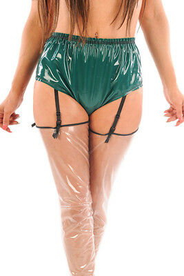 Latex Gomme Culotte / Slip Type PVC Vert Semi Transparent
