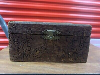 Antique Carved Balsa wood Box Trinket Jewelry Box Inscribed And Dated 1904