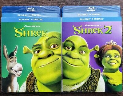 Shrek 1 & 2 Bluray + Dvd 4-Discs Mint Slipcover No Digital Free Shipping