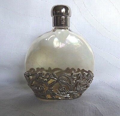 Vtg SILVESTRI Iridescent Glass Perfume Bottle Decorative Silver Filigree base