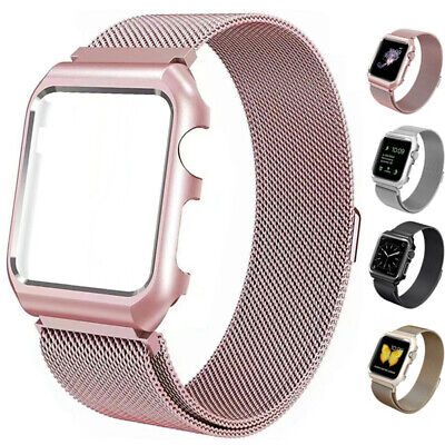 Metal Bracelet Strap Milanese Band + Case For Apple Watch 42mm 38mm Series 3 2 1