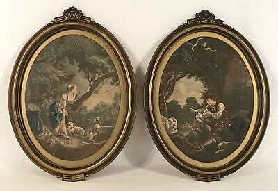 Pair Vintage Early 20th C Art Deco Oval Gold Frames & Prints 7 x 9 Openings