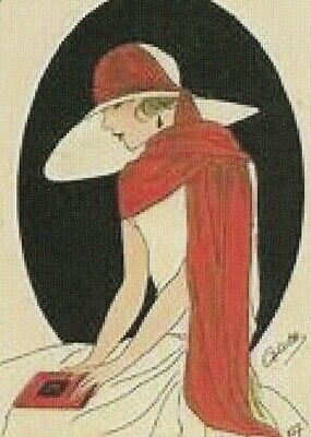Art Deco Lady Wearing a Red Scarf - Seconds Modern Wide Linen  Swap Playing Card