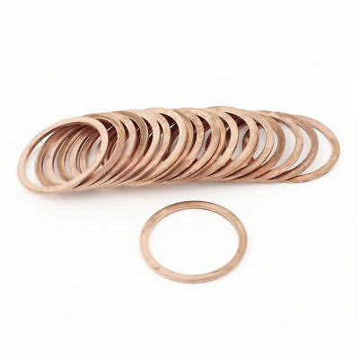 H● 20Pcs 30mm Inner Diameter Flat Copper Crush Washer Sealing Ring Spacer.