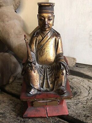 Antique Oriental Chinese Figure Carved Wood Gesso Gilt Gold Red