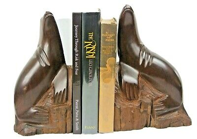 """Antique Sea Lions on Rocks Bookends Hand Carved Wood - Walrus Seal 10"""" Tall"""