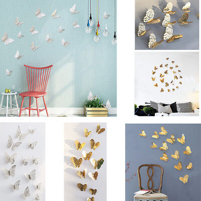 12Pcs 3D Hollow Wall Stickers Butterfly Fridge For Home Christmas Decoration Hot