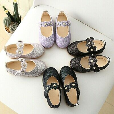Children 0-10Year Girls Solid Flower Bling Party Single Dancing Princess Shoes