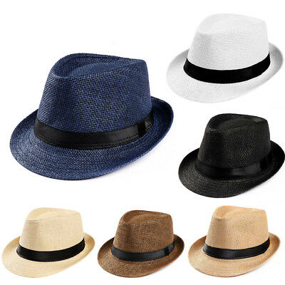 Summer Unisex Men Black Jazz Wool Trilby Bowler Fedora Panama Hat Gangster Cap