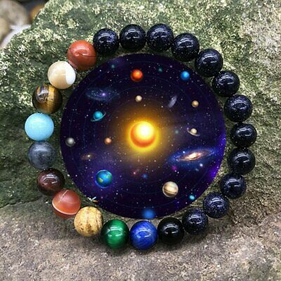 Universe Solar System Galaxy Eight Planets Natural Stone Beads Bracelet Bangle