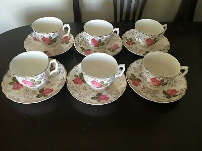 Bone China Pale Green & Pink Roses 22kt Gold Tea cups and saucers x 6