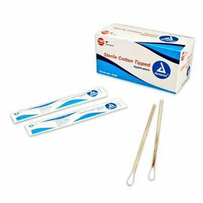 """Dynarex 6"""" Cotton Tipped Applicator Sticks, Sterile Highly Absorbent, 200/Box"""