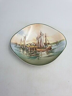 """Royal Doulton Series Ware """"Home Waters"""" Oval Handled Dish D6434 Signed W E Grace"""