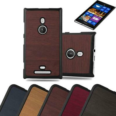 Hard Cover for Nokia Lumia 925 Shock Proof Case Wooden Style Rigid TPU