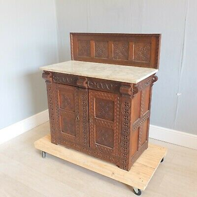 Antique Country Deeply Chip Carved Oak Marble Top Wash Stand (200)