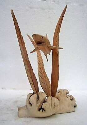 Unusual Hand Carved Shark on Parasite Wood Bali wood Shark in Seaweed Carving