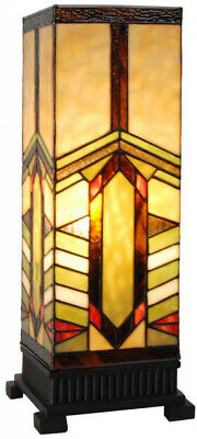 17 in. Table Lamp Stained Glass Indoor with Mission Style Stone Mountain Shade