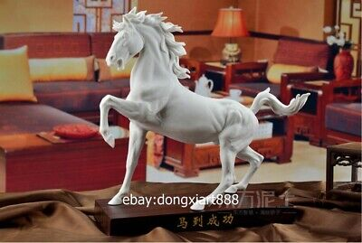 White Glaze dehua Porcelain Pottery Chinese Zodiac Animal Lucky Horse sculpture