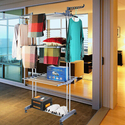 Gray Clothes Airer Horse 3 Tiers Laundry Washing Drying Rack Hanging Garment