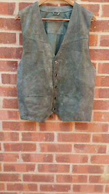 Mens Vintage Green Suede Leather Waistcoat size L