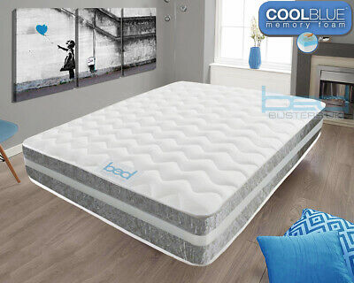 Cool Blue Memory Foam Silver Crushed Mattress 3ft Single, 4ft6 Double, 5ft King
