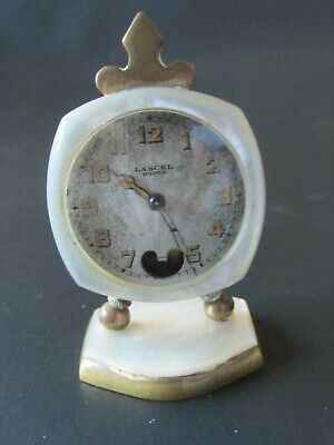 Antique Lancel Paris Mother Of Pearl Travel Carriage Clock Swiss Made